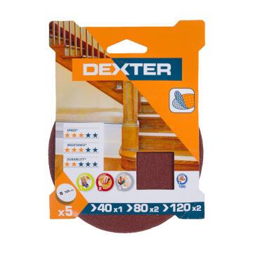 Set sanding disc d125mm G40G80G120 wood DEXTER