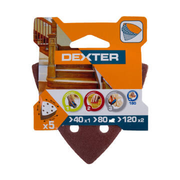Set delta sanding paper G40G80G120 wood DEXTER 93x93mm