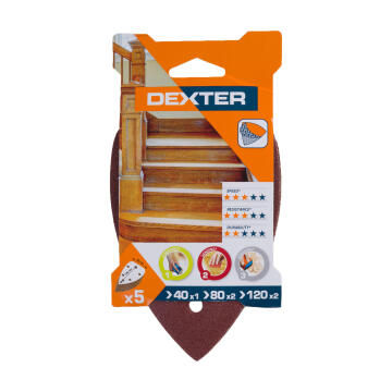 Set delta sand paper wood G40G80G120 DEXTER 140x98mm
