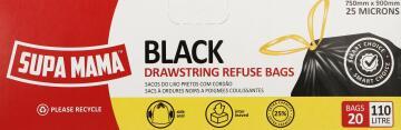 Refuse bags SUPA MAMA black 100 litre drawstring x20