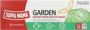 Refuse bags SUPA MAMA garden 110 litre drawstring x20