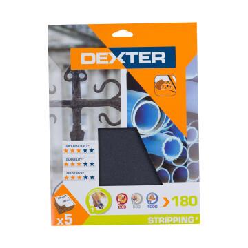 Water paper G180 metal / plastic DEXTER 5 pieces 230x280mm