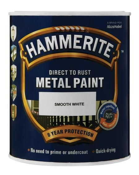 Metal Paint Hammerite Hammered White 5l