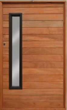 Entry Door Engineered Hardwood with Frame (prehung) Horizontal Slats with Glass Pivot Left Hand Opening-w1290x2115mm