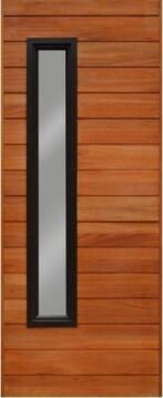 Entry Dr Eng Hard Wood Horizontal Slats with Glass