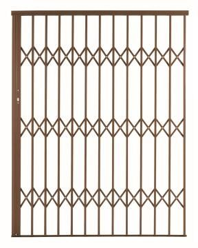 Alu-glide security gate type 15 1500(w)x1950-2150(h) bronze xpanda