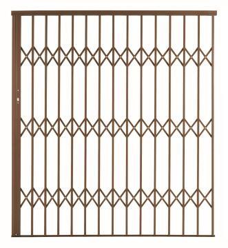 Alu-glide security gate type 18 1800(w)x1950-2150(h) bronze xpanda