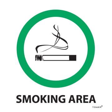 Smoking area sign ABS tower 150x150mm