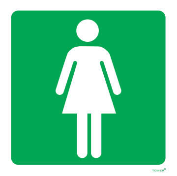 Ladies toilet sign ABS tower 150x150mm