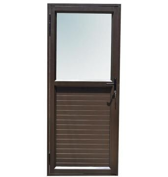 Exterior Door Aluminium with Frame (Prehung) Kick Plate Bronze Obscure Glass Right Hand Opening Open-in-w890xh2090mm