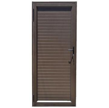 Exterior Door Aluminium Solid Slats Bronze-Right Hand Opening Open-in-w890xh2090mm
