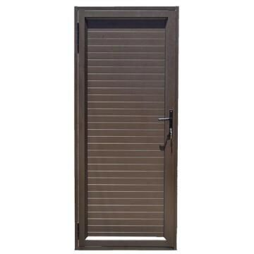 Exterior Door Aluminium Solid Slats Bronze-Left Hand Opening Open-in-w890xh2090mm