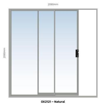 Sliding Door Aluminium 1 Side Opening (OX) Natural-w2090xh2090mm
