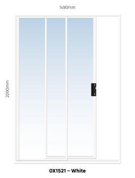 Sliding Door Aluminium 1 Side Opening (OX) White-w1490xh2090mm