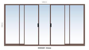 Sliding Door Aluminium Center Opening (OXXO) Bronze-w3990xh2090mm