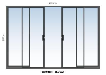 Sliding Door Aluminium Center Opening (OXXO) Charcoal-w2990xh2090mm