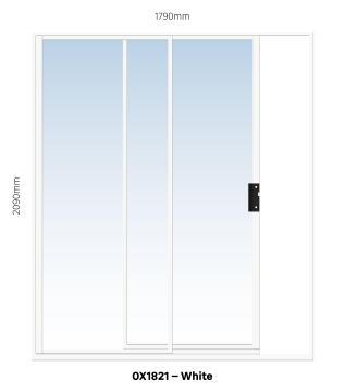 Sliding Door Aluminium 1 Side Opening (OX) White-w1790xh2090mm