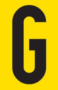 Letter G adhesive sign tower 55x90mm