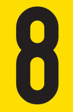 Number 8 adhesive sign tower 38x60mm