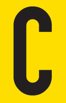 Letter C adhesive sign tower 55x90mm