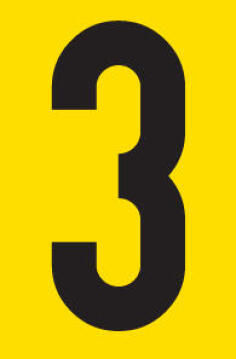 Number 3 adhesive sign tower 38x60mm