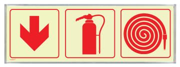 Fire extingusher, fire hose & red arrow sign photoluminescent 570x190mm