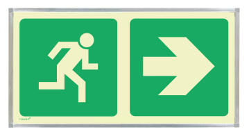 Green arrow horizontal & man running sign photoluminescent 380x190mm