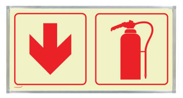 Fire extingusher & red arrow sign photoluminescent 380x190mm