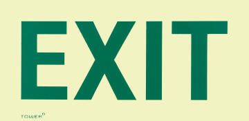 Exit sign photoluminescent tower 300x190mm