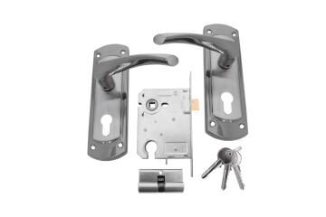 Lockset with handles cylinder entry satin nickel sienna L&B security