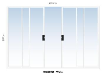 Sliding Door Aluminium Center Opening (OXXO) White-w2990xh2090mm
