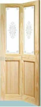 Interior Door Pine Bi-fold 4 Panel Glazed Top -w813xh2032mm