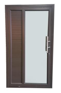 Exterior Door Aluminium with Frame (Prehung) 1/3 Cladding 2/3 Glazing Bronze Reflective Glass Right Hand Opening Open-in-w1190xh2090mm