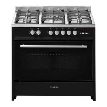 Gas stove 5 burners + electric oven multifunction 90 cm Black Meireles E915BL