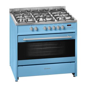 Gas stove 5 burners + electric oven multifunction 90 cm Blue Meireles E915PB