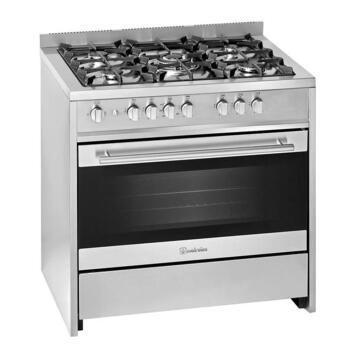 Gas stove 5 burners + electric oven multifunction 90 cm Steel Meireles EV8 90 SP 2N