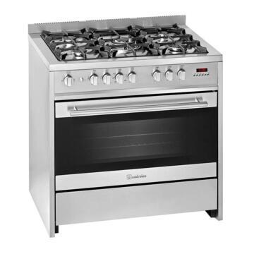 Gas stove 5 burners + Gas oven 90 cm Steel Meireles G90 SP XN