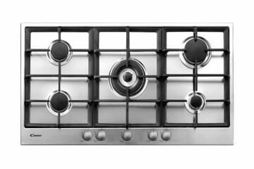 Gas hob CANDY 90cm Frontal - 5 burners including Wok - 5 Knobs - 11.5kW - Inox - Cast iron grids
