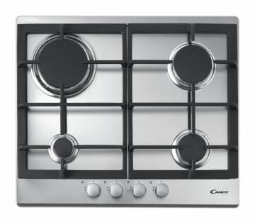 Gas Hob CANDY 60cm Frontal - 4 burners - 4 Knobs - 7kW - Inox - Cast iron grids