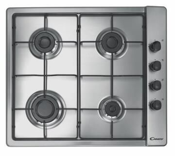 Gas hob CANDY 60cm Lateral 4 burners - 4 Knobs - 7.1kW - Inox - Enameled grids