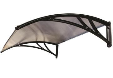 Awning Polycarbonate Multiwall Clear-with Black PVC Brackets-w1200xd1000mm