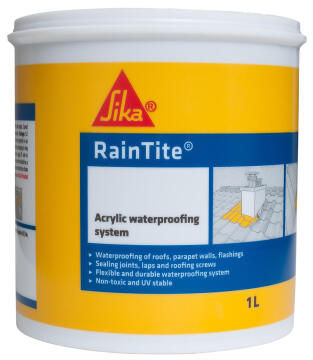 Acrylic waterproofing system SIKA RAINTITE brown 1 litre pail