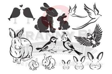 Stencils GRANNY B'S bunnies & birds