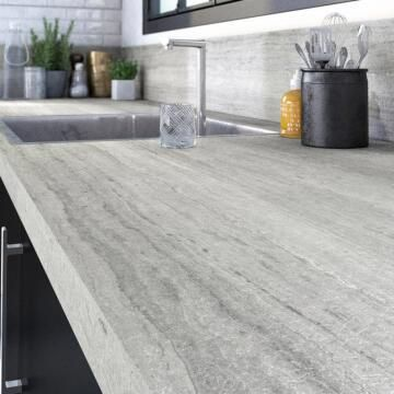 Kitchen worktop laminate travertin sand L315XD65XT3.8cm water repellent treatment