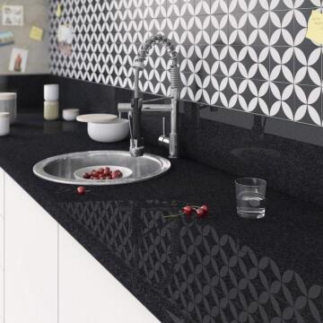 Kitchen worktop laminate marble black L300XD65XT3.8cm water repellent treatment