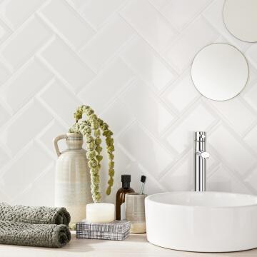 Subway tile ceramic bevelled gloss white 20cm x 10cm (1m2/box)
