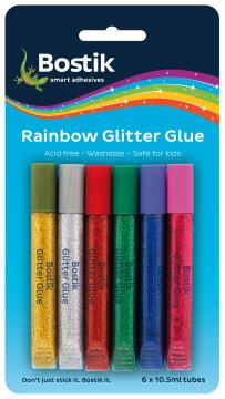 Rainbow glitter glue 6x10.5ml bostik