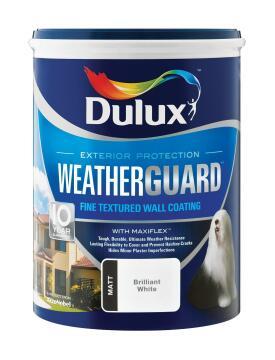 Paint exterior fine textured DULUX WEATHERGUARD Brilliant White 5L,
