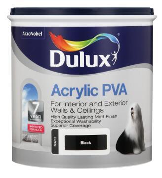 Interior & exterior paint DULUX Acrylic PVA Black matt 1L