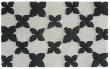 Bath mat woven cotton SENSEA nina white black 50X80CM